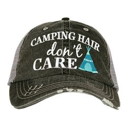 Camping Hair Don't Care Women's Distressed Grey Trucker Hat (Mint)