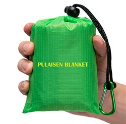Pulaisen Pocket Beach Blanket – Waterproof Camping Blanket Mat, Ground Cover,Compact Light ...