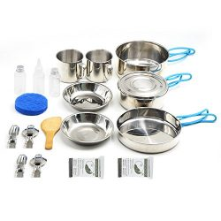 VENNOBIA Small Camping Cookware,11 Pieces gift+9 Pieces Stainless Steel Mess Kit Backpacking Gea ...