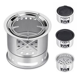 Canway Camping Stove, Wood Stove/Backpacking Stove,Portable Stainless Steel Wood Burning Stove w ...