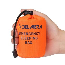 Delmera Emergency Survival Sleeping Bag, Lightweight Waterproof Thermal Emergency Blanket, Bivy  ...