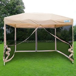 Quictent 10×10 Ez Pop up Canopy with Netting Gazebo Mesh Side Wall Screen House with Carry  ...