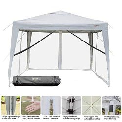 VINGLI 10′ x 10′ EZ POP UP Canopy Tent with 4 Removable Mesh Sidewalls,Shelter Anti- ...