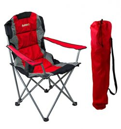 GigaTent Red Folding Camping Chair – Ultra Lightweight Collapsible Quad Padded Lawn Seat Full Ba ...