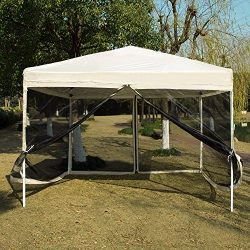 VIVOHOME Outdoor Easy Pop Up Canopy Screen Party Tent with Mesh Side Walls Beige 10 x 10 ft