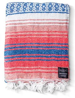 Mexican Blanket Authentic Falsa Blankets: Thick Soft Woven Acrylic for Yoga or as Beach Throw, P ...
