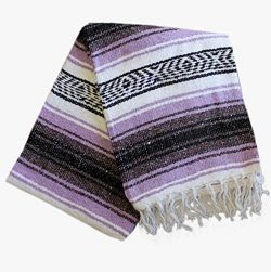 Classic Mexican Blanket Vintage Style Yoga, Pilates, Camping, Home Decor (Lavender)