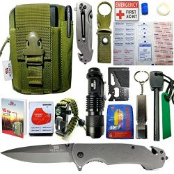 EMERGENCY SURVIVAL KIT 42 in 1 MILITARY POUCH, TACTICAL POCKET KNIFE, FIRE STARTER, BLANKETS, CO ...