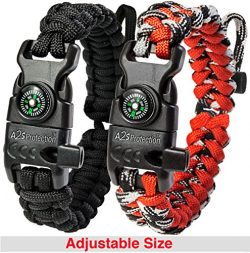 A2S Protection Paracord Bracelet K2-Peak – Survival Gear Kit with Embedded Compass, Fire Starter ...