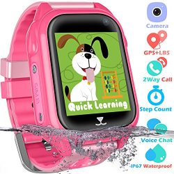 Waterproof GPS Tracker Watch for Kids – IP67 Water-resistant Smartwatches Phone with GPS/L ...