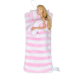 E-TING Handmade Fluff Sleeping Bag for Barbie Doll Bedroom Accessories (Pink and White Stripes)