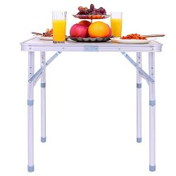 ANCHEER Portable Camping Table, Lightweight Folding Picnic Table with Carrying Handle – Tw ...