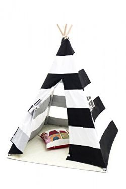 Small Boy Stripe Canvas Play Teepee Tent for Kids 100% Cotton by, Black/White