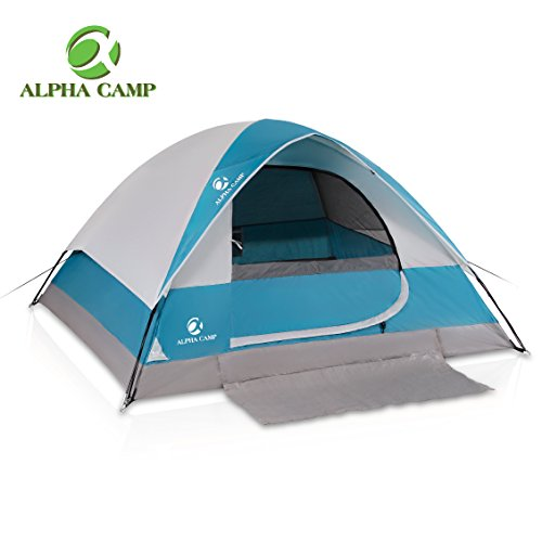 ALPHA CAMP 4 Person Camping Tent with Mud Mat – Dome Design 9′ x 7′ Blue