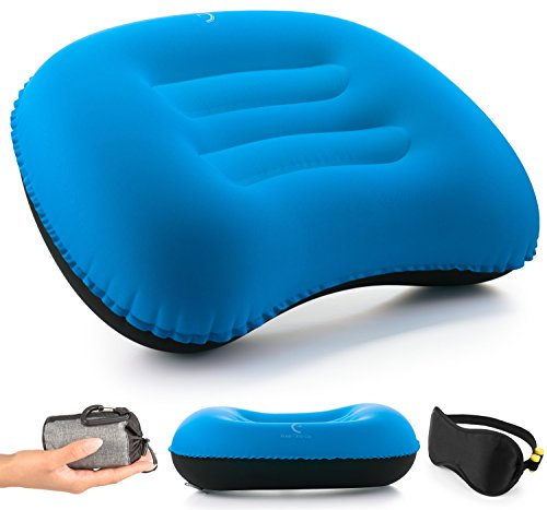 Free-Time Co. Inflatable Camping Pillow Set – Sleeping Face Mask Included – Compact Backpacking  ...