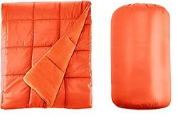 Waterproof Quilted Down Alternative Outdoor Throw Blanket 50″ x 60″ Packable With Tr ...