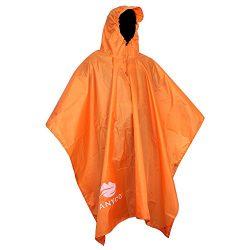 Anyoo Waterproof Rain Poncho Reusable Ripstop Breathable Multi-use Raincoat for Outdoors