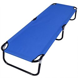 Generic Blue Folding Camping Bed Outdoor Portable Military Cot Sleeping Hiking Travel Easy To Ca ...