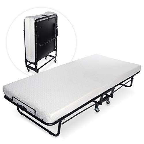 Milliard Premium Folding Bed with Luxurious Memory Foam Mattress – Perfect Guest Bed Featuring a ...