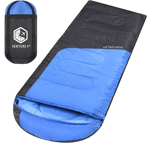 VENTURE 4TH Lightweight Durable Sleeping Bag – Ideal for Hiking and Camping – Blue/Gray