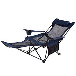 Seatopia Camping Recliner and Lounge Chair, Backpacking Folding Chair with Headrest, Footrest an ...