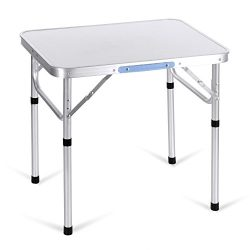 Flyerstoy Portable Folding Table, Height Adjustable Aluminum Outdoor Camping Table with Carrying ...