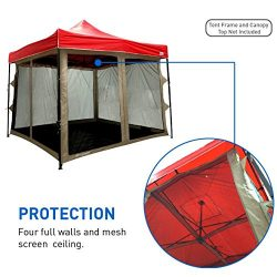 EasyGoProducts Screen Room attaches to Any 10'x10′ Pop up Screen Tent Room – 4 Walls ...