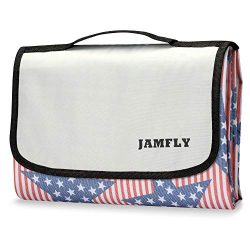 JAMFLY Picnic Outdoor Camping Beach Blanket Mat with Waterproof Backing 78″×76″(Lar ...
