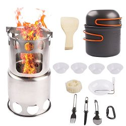 NULIPAM Camping Wood Stove Backpacking Cookware Set, Ultralight Portable Stainless Steel Wood Bu ...