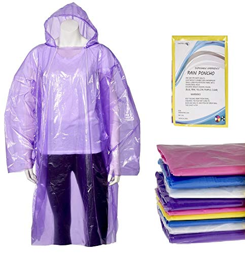 10 Pack Set Rain Ponchos for Adults Lightweight Rain Coat with Longer Drawstring in Hood, Waterp ...
