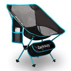 Zerllaug Folding Camping Chair, Lightweight Portable Backpacking Chair for Outdoor, Heavy Duty 2 ...