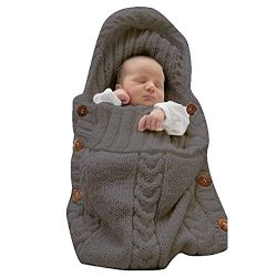 LANSHULAN  Newborn Baby Blanket Toddler Sleeping Bag Sleep Sack Stroller Wrap (Dark Grey)
