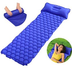 EASELAND Ultralight Inflatable Lightweight Sleeping Pad with Attached Pillow for Camping Backpac ...
