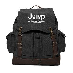 Jeep An American Tradition Rucksack Backpack Bag Leather Straps Black & White