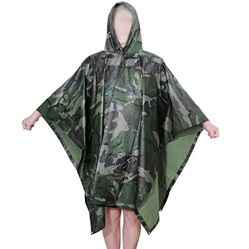 Aircee (TM Camouflage Military Emergency Raincoat Waterproof Poncho Packable Rainwear, Can be Us ...