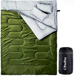 Ohuhu Double Sleeping Bag with 2 Pillows and a Carrying Bag for Camping, Backpacking, Hiking, Green