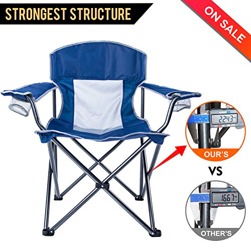 LCH Outdoor Camping Chair Oversized Support 300lbs Folding Padded Chair Mesh Back Heavy Duty Com ...