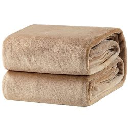 Bedsure Flannel Fleece Luxury Blanket Camel Twin Size Lightweight Cozy Plush Microfiber Solid Bl ...
