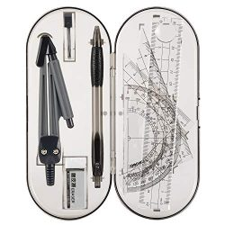 Math Geometry Kit Set – Student Supplies Drawing Compass,Protractor,Rulers,Pencil Lead Ref ...