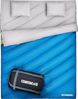 FUNDANGO Double Sleeping Bag for Two Person King Size XL Camping Hiking All Weather Sleeping Bag ...
