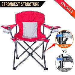 LCH Camping Chairs Outdoor Over Sized Folding Padded Chair Support 300 lbs Mesh Back Heavy Duty  ...