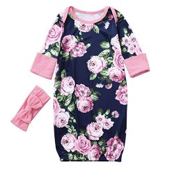 GoodLock Baby Girls Fashion Clothes Newborn Long Sleeves Flowers Print Sleeping Bag +Headband Se ...