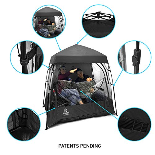 EasyGO CoverU Sports Shelter – Fits 1 or 2 Person Weather Tent and Sports Pod (Black)– Patents P ...