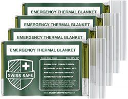 Swiss Safe Emergency Mylar Thermal Blankets (4-Pack) + Bonus Signature Gold Foil Space Blanket:  ...