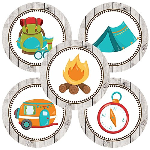 Camping Sticker Labels – Boy Girl Kids Birthday Baby Shower Themed Party Supplies –  ...