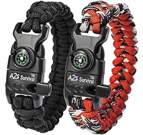 A2S Protection Paracord Bracelet K2-Peak – Survival Gear Kit Embedded Compass, Fire Starter, Eme ...
