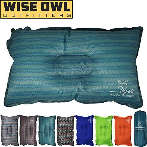 Wise Owl Outfitters Camping Pillow Lightweight & Self Inflating – Inflatable Foam & Air  ...